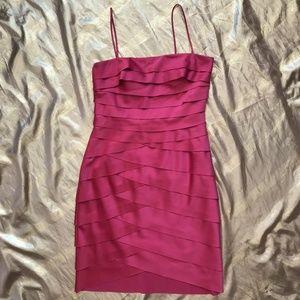 Shutter Pleat Tulip Hem Satin Dress with Shawl